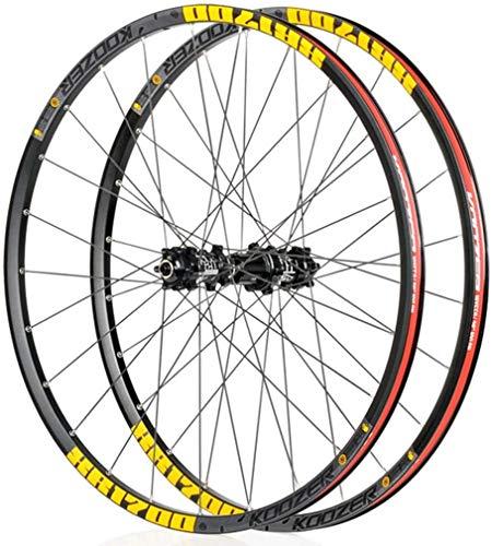 YZU Ruedas de MTB para bicicleta con ruedas de 26/27.5 pulgadas, doble pared, aleación de llanta, cubo de cassette, rodamiento sellado, freno de disco QR, 24 agujeros, velocidad 8-11, oro, 26 pulgadas