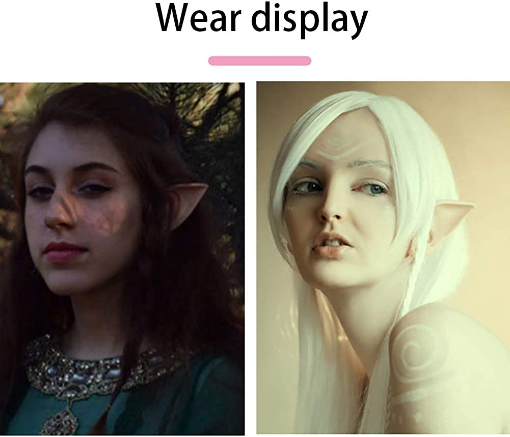 SiNetGuy Latex Elf Ear Cosplay Fairy Pixie Elf Ears Halloween Party Anime Props Elven Vampire Fairy Ears