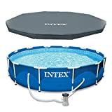 Intex 28211EH 12-Foot x 30-inch Metal Frame Round 6 Person Outdoor Above Ground Swimming Pool with GFCI Filter Pump and Pool Cover