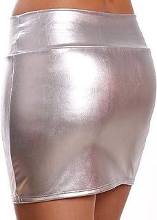 HNGPB - Minigonna da donna in pelle verniciata sexy, per feste (argento)
