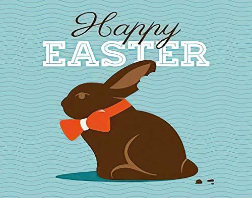 Y·JIANG Happy Easter Paint by Numbers, Easter Chocolate Conejo Conejo y Tipo Font DIY Lienzo Acrílico Pintura al óleo por números para adultos niños decoración de pared del hogar, 40,6 x 50,8 cm
