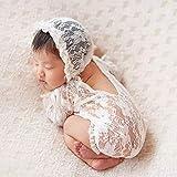 iSpchen Neugeborenes Baby Fotografie Requisiten Junge Mädchen Foto Spitze Prinzessin Kostüme Outfits Strampler Set Geburtstagsgeschenk Baby Kleidung Weiß