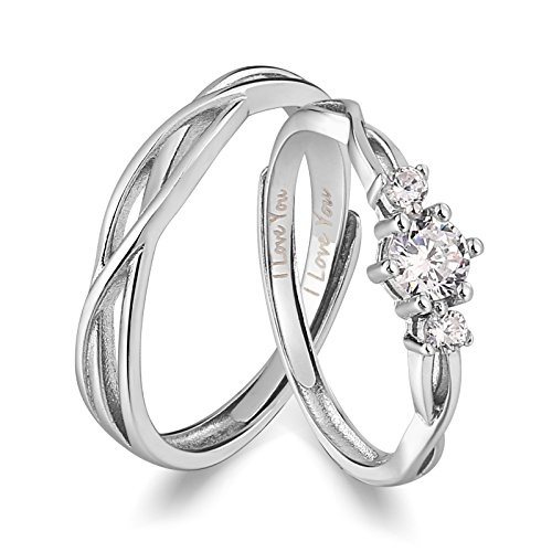 ANAZOZ His Hers Couples Rings Set S925 Sterling Silver Zirconia Engagement Ring Set Mens Matching Band