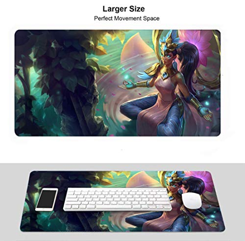 Extended Size Professional Gaming Mouse Pad for League Legends, Stitched Edges Ultra Thick 3Mm (Champion Karma Orderofthelotus)