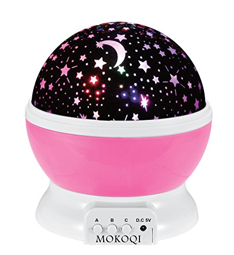 Star Projector, Multiple Colors Night Light Lamp Romantic Rotating Cosmos Star Sky Moon Projector for Children Kids Bedroom (Pink)