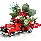 Syhood Decoración de Camión Vintage Rojo de Navidad Decoración de Camioneta de Metal de Granja con Pino Artificial y Corona Pequeña Navideña Modelo de Coche de Camión Rojo de Metal Hecho a Mano
