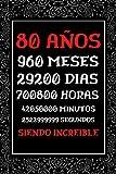 80 Años Siendo Increible: Regalos Originales de 80 cumpleaños Mujer Hombre , Diario Cuaderno de Notas , Agenda , Regalos de aniversario Amiga Madre Padre