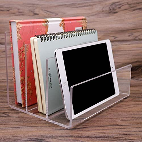 Clear Acrylic File Sorter, 3 Sections Desk Plastic File Folder Rack, Clear Office File Organizer for Document Paper Letter Book Envelope Laptop Makeup Eye Shadow Palette Mail Electronic Purse