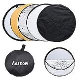 Aosnow 撮影用リフレクター 丸レフ板 折り畳み式反射板 5 in 1(白、黒、銀、金、半透明) キャリングバッグ付き (60cm)