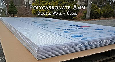 """POLICARB Polycarbonate Greenhouse Cover 8mm - Clear 48"""""""" x 96"""" (Pak of 10)"""