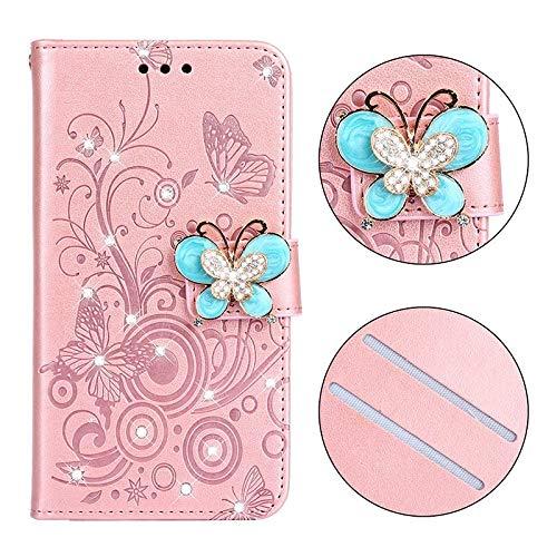 QiuKui Case para Xiaomi Pocophone F1 MI A2 Lite, Mariposa Jeweled Stand Case Glitter Cover for Redmi 5 Plus 5A 6A Redmi 6 Pro Note 6 Pro (Color : Rose Gold, Material : For Redmi 5A)