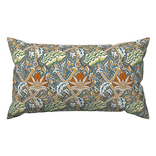 Meg121ace Botanical Accent Pillow - William Morris Windrush Home Decor chantal_pare - Victorian Floral Damask Rectangle Lumbar Throw Pillowcase Cushion Cover Gift