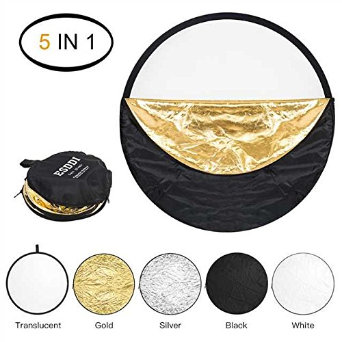 ESDDI 22inch Reflector 5 in 1 Portable Light Reflector Photography with Bag, Silver, Gold, White, Translucent and Black for Studio or Any Photography Situation