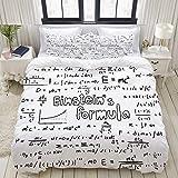 MOBEITI Parure de lit avec Housse de Couette en Microfibre,Geek Nerd Culture Style Manuscrit Physique Mathématiques Formule Educatif,Sets de Housse de Couette 140 x 200cm+2 taie d'oreiller 50 x 75 CM