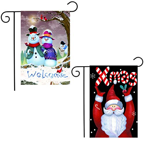 Shmbada 2 Pack Welcome Winter Merry Christmas Garden Flag Kit, Double Sided Shows Funny Snowman and Santa Candy Cane, Outdoor Lawn Yard Decor Flags, Gift for Kids Children, 12 X 18 Inch