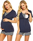 Ekouaer Women Maternity & Nursing Pajamas Set for Breastfeeding/Delivery/Labor Top and Print Pants Sets (Navy Blue L)