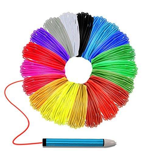 Filamento PLA 1.75 mm 20 Colori Filamenti PLA per Penna 3D 10 Meteri Ogni Colore 6 Colori Bagliore nel Buio + 14 Colori Regolari di Alta qualità