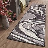 TAPISO Dream Läufer Teppich Meterware Flur Brücke Modern Wellen Streifen Gestreift Grau Creme nach Maß Wohnzimmer Schlafzimmer ÖKOTEX 120 x 400 cm