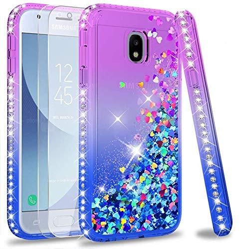 LeYi Custodia Galaxy J3 2017 Glitter Cover con Vetro Temperato [2 Pack],Brillantini Diamond Sabbie Mobili Bumper Case per Custodie Samsung J3 2017/J3 PRO 2017 SM-J330 Donna ZX Purple Blue Gradient