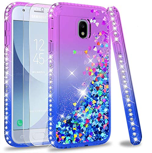 LeYi Case for Galaxy J3 2017 with Tempered Glass Screen Protector,Girl Women 3D Glitter Liquid Cute Personalised Diamond Clear Transparent Silicone Gel Shockproof Cover for Samsung J3 2017 Purple Blue