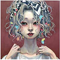 aksldf 5DDiyダイヤモンド絵画クロスステッチガールフラワー3Dダイヤモンド刺繡日本人少女フルスクエアモザイク装飾-30x30cmフレームなし