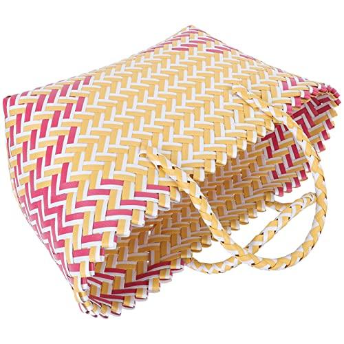 Cabilock Frauen Handwoven Taschen Kunststoff Handtasche Retro Stil Tasche
