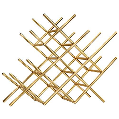 Leobtain Botellero Modern Geometry Metal Wine Holder Decorativo Hierro Arte Grid Botella Organizador Rack Cocina Encimitop Barware Handcraft Mobiliario (Color : Golden)