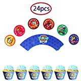 24PCS Dog Patrol Cake Topper Decorative Supplies,12pcs Dog Patrol cake topper 12pcs Dog Patrol Cupcake Wrappers Claw Dog Patrol Party Birthday Party Gifts Great Party Cupcake Decorations