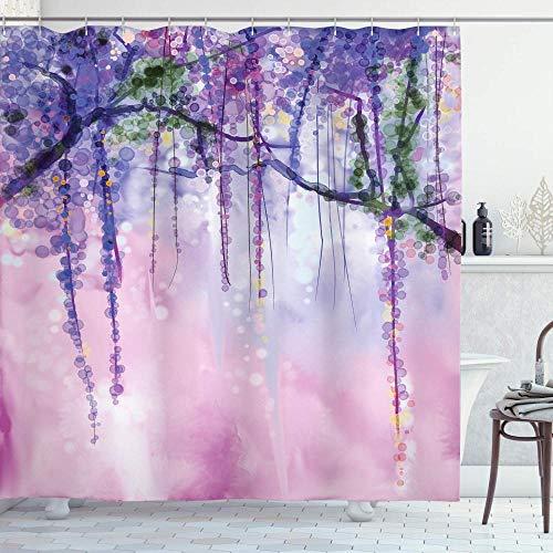 None brand Glyzinien Blumen Baum verschwommen Design Polyester Stoff Bad Duschvorhang Marine Flieder Aubergine Blau Violett-180X200cm