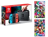Nintendo Switch Console Rouge/Bleu Néon 32Go + Mario Kart 8 Deluxe + Splatoon 2