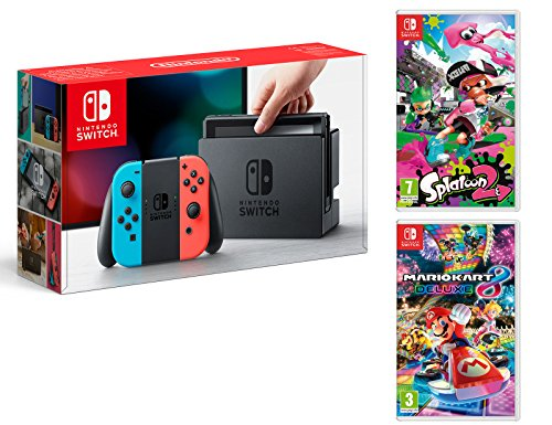 Nintendo Switch Rouge/Bleu Néon 32Go Pack + Mario Kart 8 Deluxe + Splatoon 2