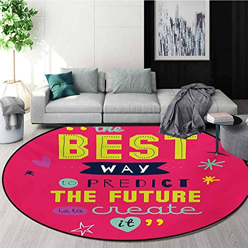 Find Discount RUGSMAT Quotes Round Rug Kid Carpet,Motivational Typography The Best Way to Predict Fu...