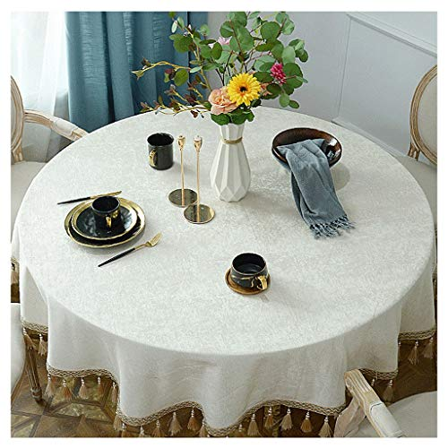 Tafelkleed beige rond Europees voor hotel met oorbellen tafelkleed rond Little