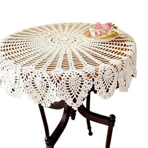 Yizunnu Retro-Tischdecke, rund, Spitze, handgefertigt, gehäkelt, Baumwolle, Tischdecke/Abdeckung, 90 cm, baumwolle, weiß, 90cm round