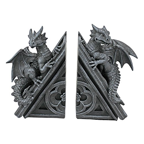 Design Toscano CL55773 Castle Dragon Gothic Decorative Bookend Statues, 8 Inch, Set of Two, Grey, 2 Count