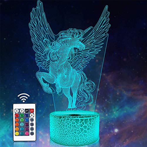 Lámpara de escritorio 3D ilusión unicornio una luz de noche para habitación de los niños, decoración del hogar, regalos de cumpleaños de Navidad con 16 colores cambiantes