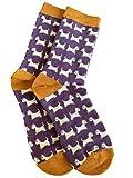 Purple Possum® Westie Dogs Damen West-Highland-Terrier, weiche Bambus-Baumwoll-Mischung, Lila/Senfgelb