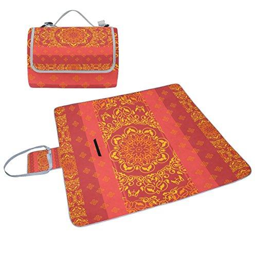 COOSUN Ornament Hintergrund mit indischen Stil Picknick Decke Tote Handlich Matte Mehltau resistent und wasserfest Camping Matte für Picknicks, Strände, Wandern, Reisen, Rving und Ausflüge
