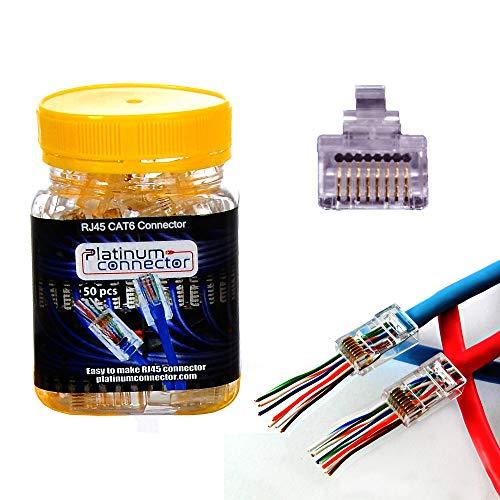 Platinum Connector RJ45 8P8C Pasar por Conector Enchufe Modular de Alto Rendimiento Ethernet de una Pieza (CAT6 (50piezas))
