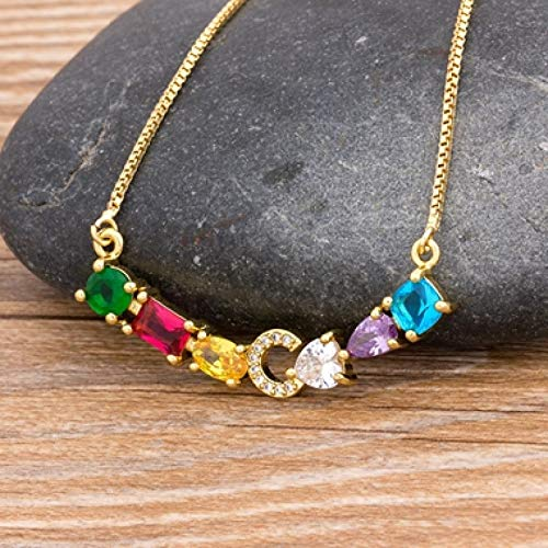 XIAODAN Luxury Initial Alphabet Letters Charm Rainbow Pendant Necklace Copper Zirconia Choker Family Jewelry Gift C