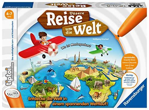 Ravensburger tiptoi 00070 Unsere Reise um die Welt - Lernspiel ab 4 Jahren, lehrreiches Geografie-Spiel für Jungen und Mädchen, für 1-4 Spieler