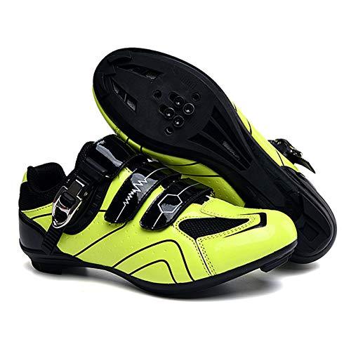SHEHUIREN Zapatos Antideslizantes para Ciclismo, Calzado para Andar en Bicicleta de montaña, con autosujeción, Transpirable,Verde,44