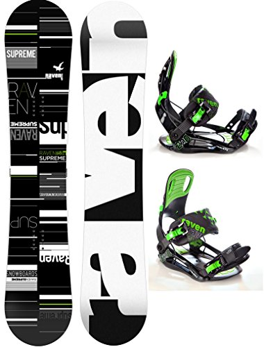 RAVEN Snowboard Set: Snowboard Supreme + Bindung s220 Green XL (158cm Wide)