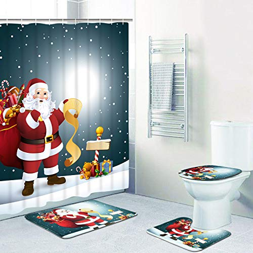 PANDAYAQ 4 Pcs Merry Christmas Shower Curtain Sets with Non-Slip Rug, Bath Mat and Toilet Lid Cover, Santa Moon Snow Shower Curtain with 12 Hooks for Christmas Decoration