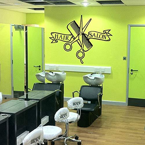 JXMK kapperskam schaar kapsalon Studio muursticker merk afneembare vinyl salon schoonheid decoratie glas muursticker sticker