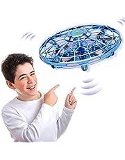 UFOドローン led ドローン 2020款新型 小型おもちゃ UFO飛行ジャイロ センサーヘリコプター 減圧玩具 解消フライングボール 360°回転 暇つぶし 脳トレー 大人に適用 子供 誕生日プレゼン USB充電 LEDおもちゃ 超軽量 携帯に便利 日本語取扱書付 (青)