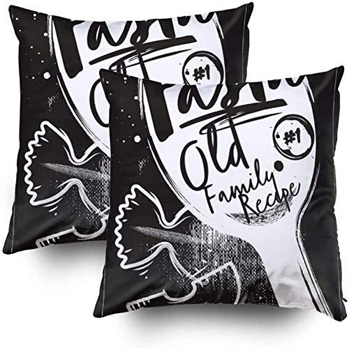 Fundas de almohada de sofá, hechas en casa, póster de carbón de pasta italiana con fondo de tiza negro, juego de 2 fundas de almohada cuadradas decorativas para sofá o dormitorio