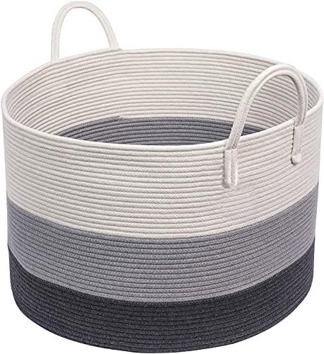 INDRESSME - Cesto in corda intrecciata grande, 53 x 35 cm, con manici lunghi, cesto decorativo per vestiti, extra large per coperte, cuscini o biancheria