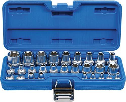 BGS 70099 | Steckschlüssel-Einsatz-Satz E-Profil | Antrieb Innenvierkant 6,3 mm 1/4