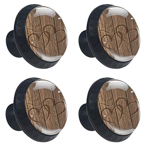Set di 4 pomelli a forma di cuore intagliati in legno per cassetti – pomelli per cassetti in vetro da cucina e cassetti decorativi per armadio